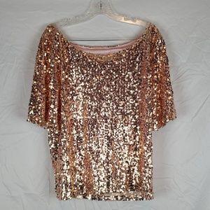Rose Gold Off The Shoulder Sequin Top 🛍